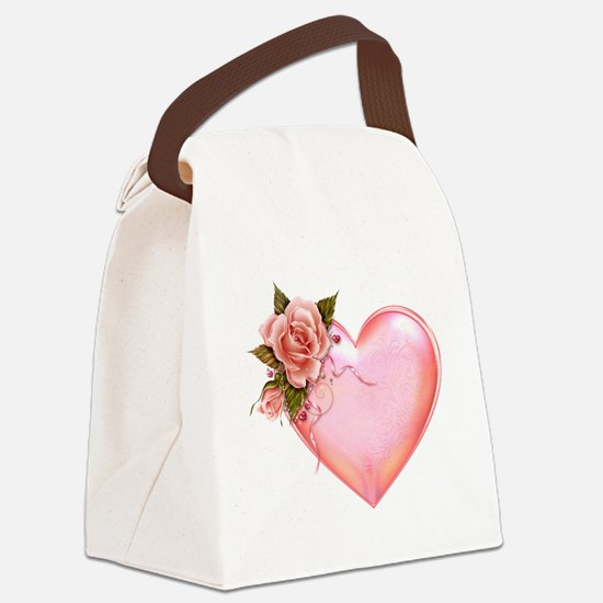 Romantic Hearts Canvas Lunch Bag