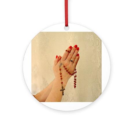 Pray the Rosary Round Ornament