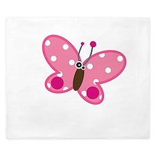 Pink Polka Dot Butterfly King Duvet