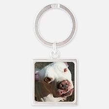 Pitbull Smile Square Keychain