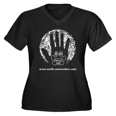 Earth Connection Women's Plus Size V-Neck Dark T-S