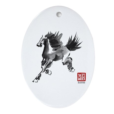 Chinese Horse Painting Oval Ornament