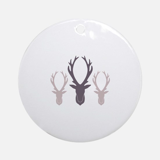 Deer Antler Head Silhouettes Ornament (Round)
