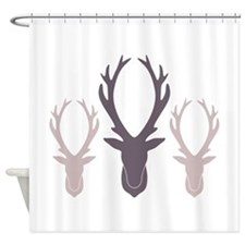 Deer Antler Head Silhouettes Shower Curtain