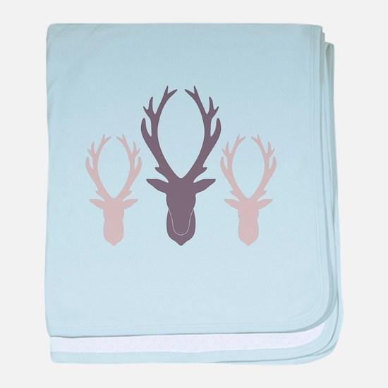 Deer Antler Head Silhouettes baby blanket