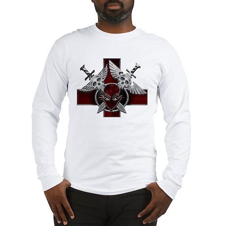 Alien Skull N Crossbones Red Long Sleeve T-Shirt