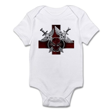 Alien Skull N Crossbones Red Infant Bodysuit
