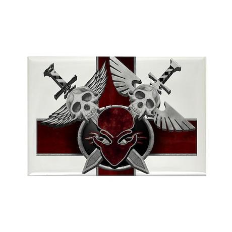 Alien Skull N Crossbones Red Rectangle Magnet