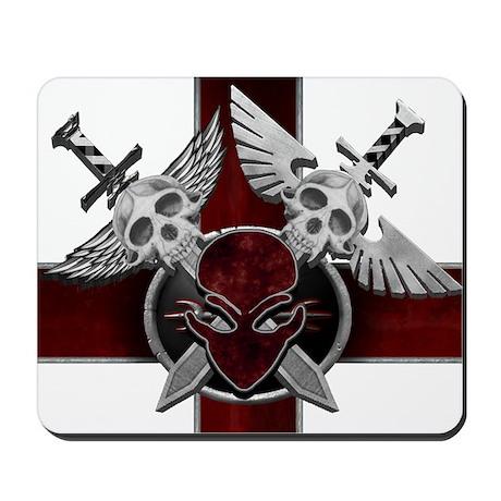 Alien Skull N Crossbones Red Mousepad