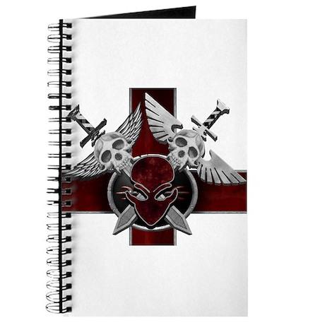 Alien Skull N Crossbones Red Journal