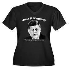 White JFK Wa Women's Plus Size V-Neck Dark T-Shirt