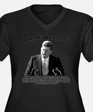 JFK Ask Not Women's Plus Size V-Neck Dark T-Shirt