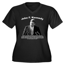 White JFK As Women's Plus Size V-Neck Dark T-Shirt