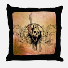 Awesome skull with crow and bones Throw Pillow