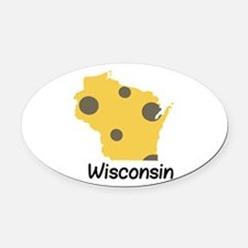 State Wisconsin Oval Car Magnet