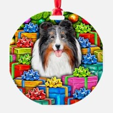 Sheltie Christmas Open Blue Merle Ornament