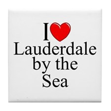 """""""I Love Lauderdale by the Sea"""" Tile Coaster"""