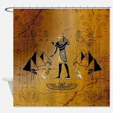 Anubis the egyptian god with pyramid Shower Curtai