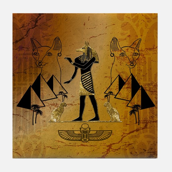 Anubis the egyptian god with pyramid Tile Coaster