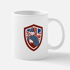 British Bobby Policeman Truncheon Flag Shield Retr