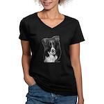 Malcolm, Border Collie Women's V-Neck Dark T-Shirt