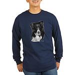 Malcolm, Border Collie Long Sleeve Dark T-Shirt