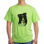 Malcolm, Border Collie Green T-Shirt