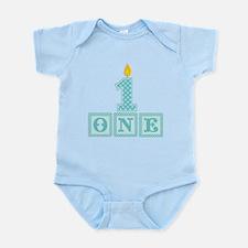 First Birthday Boy Blocks Body Suit