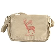Coral Christmas deer Messenger Bag