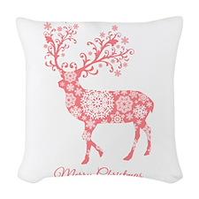 Coral Christmas deer Woven Throw Pillow