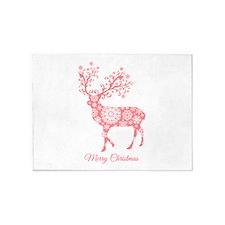 Coral Christmas deer 5'x7'Area Rug