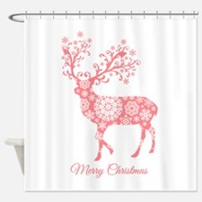 Coral Christmas deer Shower Curtain