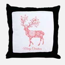 Coral Christmas deer Throw Pillow