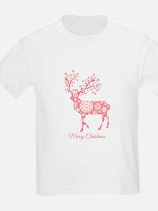 Coral Christmas deer T-Shirt