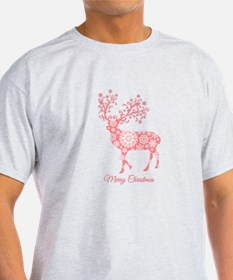 Coral Christmas deer T-Shirt
