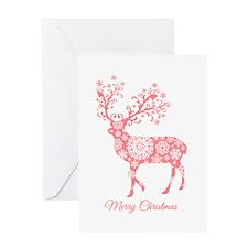 Coral Christmas deer Greeting Cards