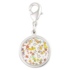 Colorful Stars Silver Round Charm