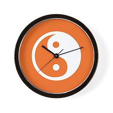Yin Yang Orange Wall Clock