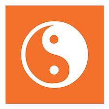 """Yin Yang Orange Square Car Magnet 3"""" x 3"""""""