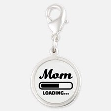 Mom loading pregnant Silver Round Charm
