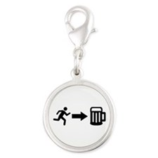 Run for beer Silver Round Charm