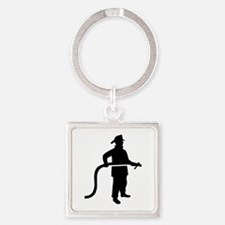 Firefighter Fireman Square Keychain