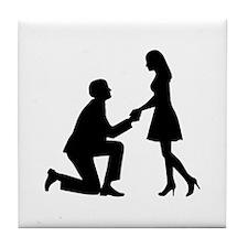 Wedding Marriage Proposal Tile Coaster