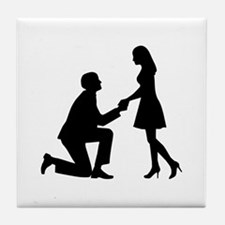 Wedding Marriage Proposal Tile Coaster