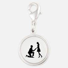 Wedding Marriage Proposal Silver Round Charm