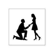"Wedding Marriage Proposal Square Sticker 3"" x 3"""