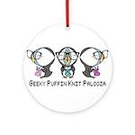 Geeky Puffin Knit Palooza Ornament (Round)