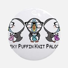Geeky Puffin Knit Palooza Ornament (Round)