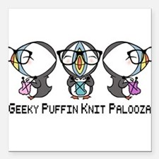 "Geeky Puffin Knit Palooza Square Car Magnet 3"" x 3"