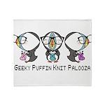 Geeky Puffin Knit Palooza Throw Blanket